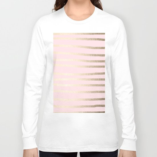 Drawn Stripes White Gold Sands on Flamingo Pink Long Sleeve T-shirt