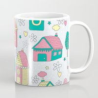 home sweet home Mugs featuring Home by One April