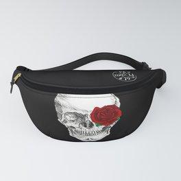 Rose Skull Black Fanny Pack