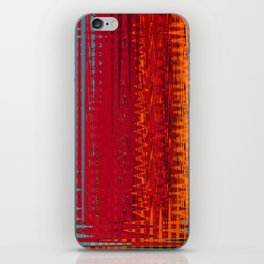 Warm red & turquoise Floor Pattern Art iPhone Skin