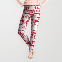 Red Scandinavian Penguin Holiday Design Leggings