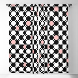 Geometrical abstract pink coral black white polka dots Blackout Curtain