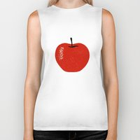 apple Biker Tanks featuring Apple by Roland Lefox