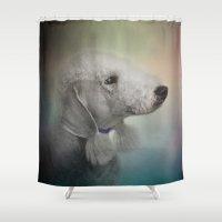 terrier Shower Curtains featuring Bedlington Terrier by Jai Johnson