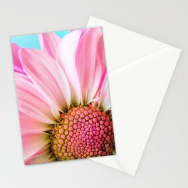 Beautiful Pink Flower Macro, Turquoise Blue Backdrop Stationery Cards