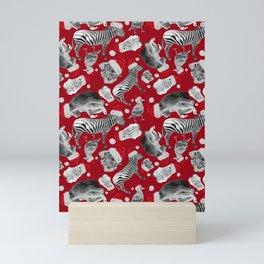 Animal Santas in Red Mini Art Print