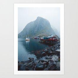 Foggy Morning in Reine, Lofoten Art Print
