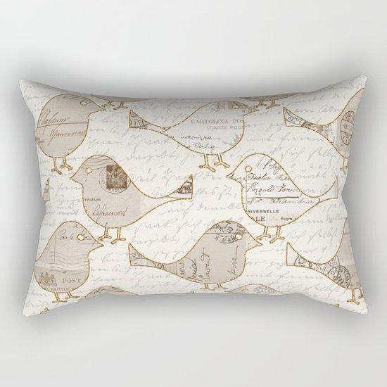 old letter pattern vintage birds art Rectangular Pillow