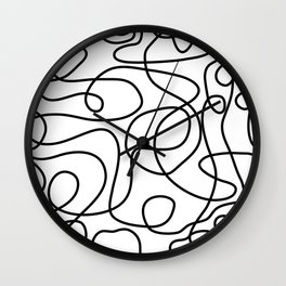 Doodle Line Art | Black on White Wall Clock