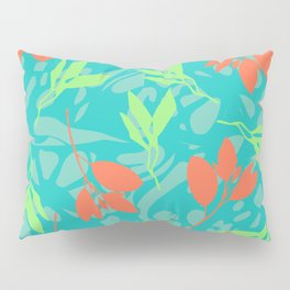 Vector Flower art and cutout leaves lake side II Pillow Sham