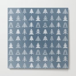 Merry Christmas- Simple Hand Knit Xmas Tree Pattern Metal Print
