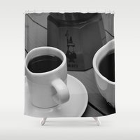 coffe Shower Curtains featuring Coffe for two by Camaracraft