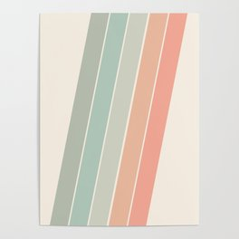 Trippin' - retro 70s socal minimal striped abstract art california surfing vintage Poster