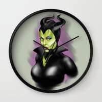 maleficent Wall Clocks featuring Maleficent by BaronDzines