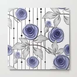 Blue Roses on striped background. Metal Print