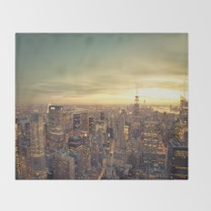 New York Skyline Cityscape Throw Blanket
