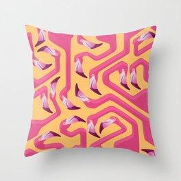 Flamingo Maze Throw Pillow