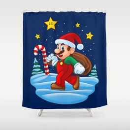 Xmas Mario Shower Curtain