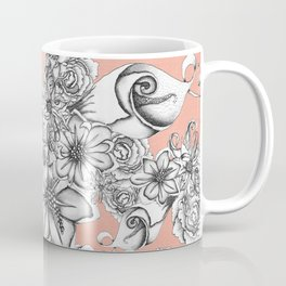 B&W Flowers Coral Coffee Mug