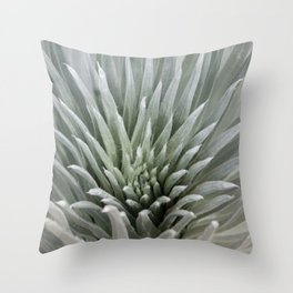 Silver Leaves Throw Pillow