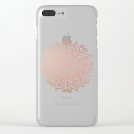 Rose Gold Floral Mandala Clear iPhone Case