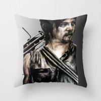 daryl dixon Throw Pillows featuring Daryl Dixon by Mandi Ward
