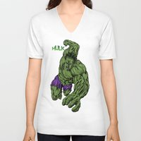 hulk V-neck T-shirts featuring Hulk by Kame Nico