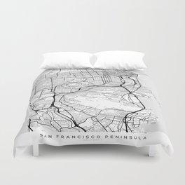 Scandinavian map of San Francisco Penninsula Duvet Cover
