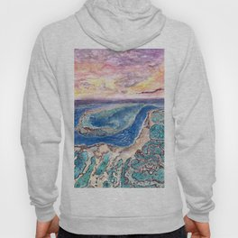 Great Barrier Reef at sunset - aerial view - coral reef - wall art Hoody