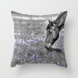 Horse & Bluebonnets Throw Pillow