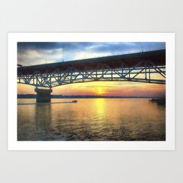 Sunset Under the Coleman Bridge Art Print