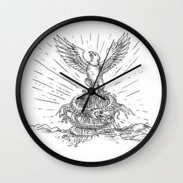 Eagle Rising Like Phoenix and Dragon Tattoo Wall Clock