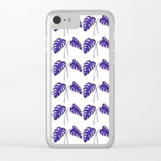 Indigo Monstera Leaf Watercolor - on white Clear iPhone Case