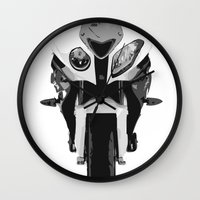 bmw Wall Clocks featuring BMW Motorcycle by SABIRO DESIGN