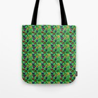 sesame street Tote Bags featuring Sesame Street Pattern by MOONGUTS (Kyle Coughlin)