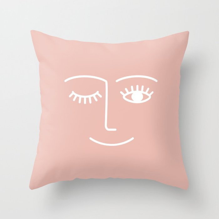 Wink / Pink Throw Pillow