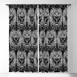 Tiger Crest - Black and White Chalkboard Blackout Curtain