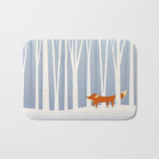Fox in the Snow Bath Mat