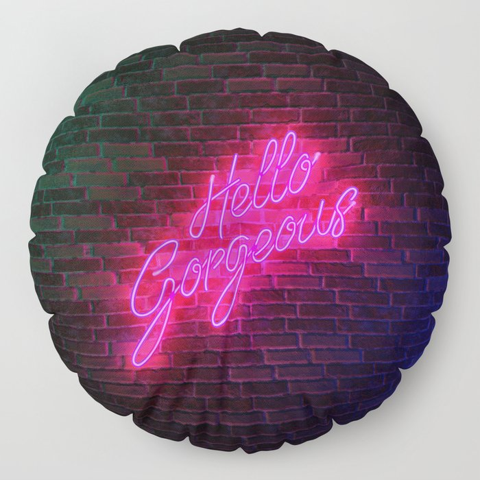Hello Gorgeous - Neon Sign Floor Pillow