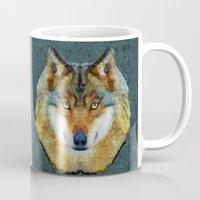 polygon Mugs featuring polygon wolf by Ancello
