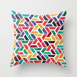 Seamless Colorful Geometric Pattern X Throw Pillow