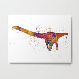 Apatosaurus dinosaur in watercolor Metal Print