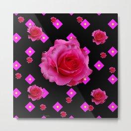 Black Fuchsia Pink Roses & Patterns Metal Print