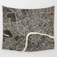 london map Wall Tapestries featuring London map by NJ-Illustrations