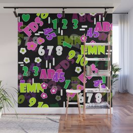 Children school numbers letters funny cute college education elements Wall Mural