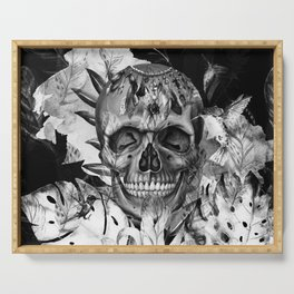 Black White Boho Skull Serving Tray