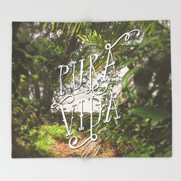 Pura Vida Costa Rica Jungle Life Caribbean Type Throw Blanket