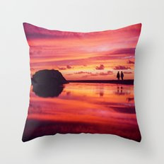 2 friends at the beach Throw Pillow