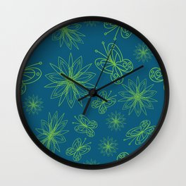 geometrical floral pattern with leaves and flowers linocut style Wall Clock