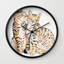 Bengal Cats Love Watercolor Ink Art Wall Clock